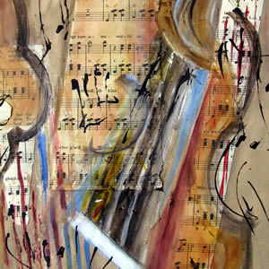 String Music - Mixed media - 9.5x13.5 in.