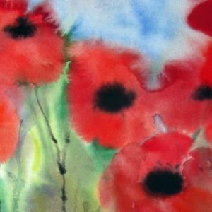 Poppyred - Watercolor - 11x15 in.